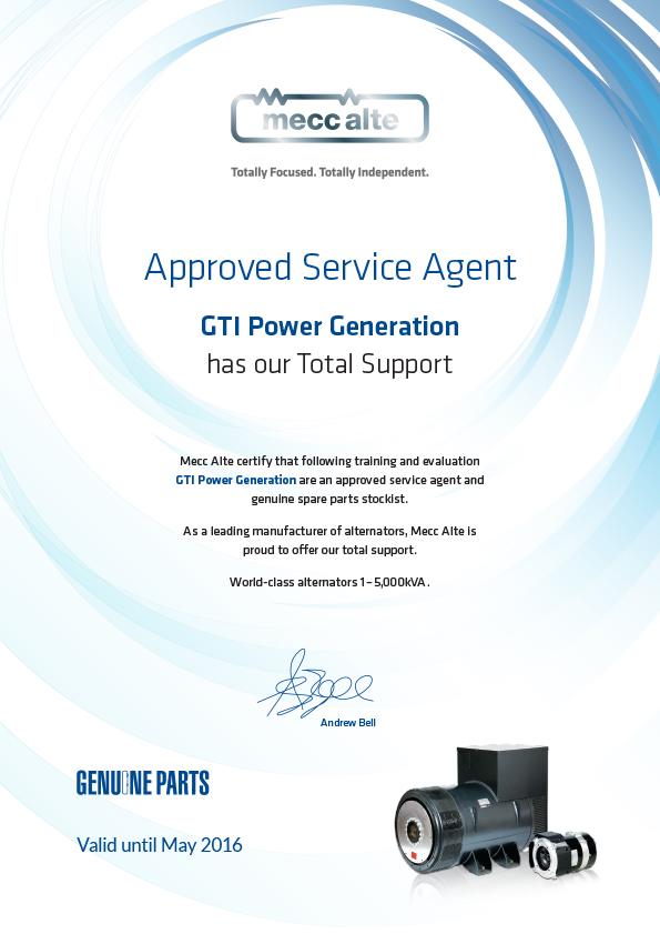 Mecca Alte Service Agent Certificate