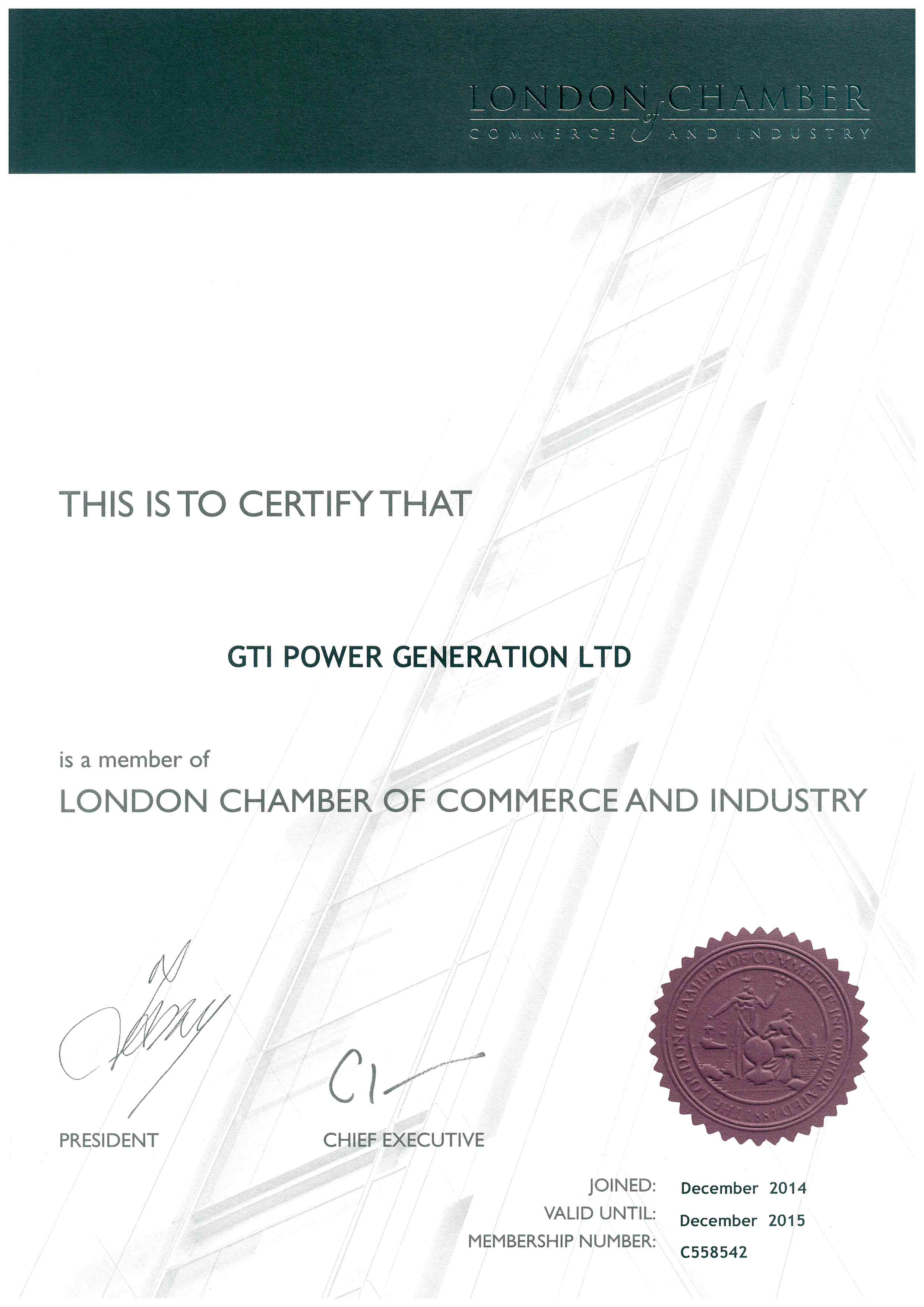Chamber of Commerce - Certificate